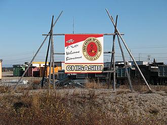 Chisasibi - Image: 03 Chisasibi welcome sign closeup