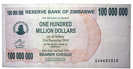 100 Million Zimbabwean Dollars