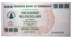 Zimbabwean dollar - 100 million Zimbabwean dollars