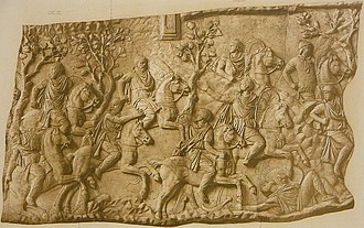 Tiberius Claudius Maximus - Cast (Cichorius 105) of panel on  Trajan's Column, showing Roman cavalry (top right corner) intercepting fleeing Dacian pileati (noblemen) of king Decebalus' bodyguard in mountainous terrain. The pileatus in centre foreground bears a resemblance to king Decebalus as portrayed in the succeeding panel, and may portray the king in flight. Note the fallen Dacian (right foregound) and the falx (curved Dacian-style sword), fallen out of his hand (centre foreground)