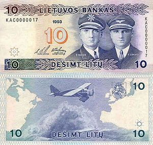 Steponas Darius - Darius (left) and Girėnas on a Lithuanian 10 litas banknote