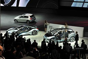 BMW i - BMW i8 (left) and i3 (right) concept cars unveiled at the 2011 Frankfurt International Motor Show.