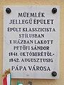 11 Petőfi Street, monument sign, 2020 Pápa.jpg