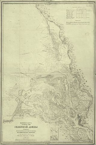 карте устья Северной Двины