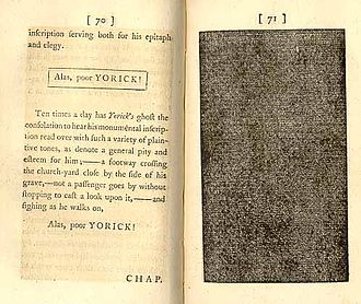 Novel - Laurence Sterne, Tristram Shandy, vol.6, pp. 70–71 (1769)