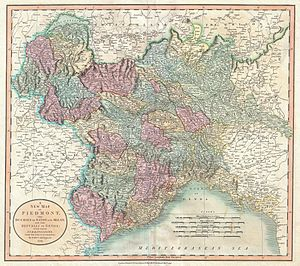 France–Italy border - Image: 1799 Cary Map of Piedmont, Italy ( Milan, Genoa ) Geographicus Piedmont cary 1799