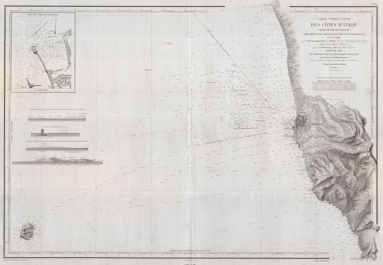 Sea Charts: 1852 Depot de la Marine Nautical Chart or Map of Livorno ,Chart