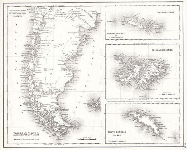 Historische Patagonien-Karte von 1855