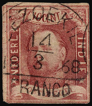 Postage stamps and postal history of Indonesia - First Dutch Indies stamp issued on 1st April 1864