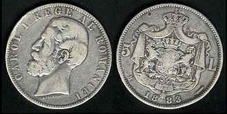 Romanian leu - 5-leu coin minted in 1883