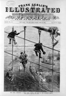 Schlagzeile, die die Eröffnung der Brooklyn Bridge ankündigt