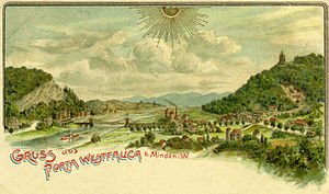 Porta Westfalica - View of Porta Westfalica from a postcard dated 1904.