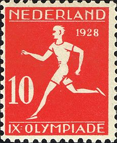 1928 Summer Olympics stamp of the Netherlands athletics2.jpg
