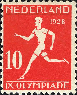 Athletics at the 1928 Summer Olympics - Image: 1928 Summer Olympics stamp of the Netherlands athletics 2