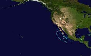 1949 Pacific hurricane season - Image: 1949 Pacific hurricane season summary map