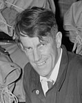1956 face detail, Edmund Hillary packs sack in preparation for the 1957 Commonwealth Trans-Antarctic Expedition at the Department of Scientific and Industrial Research, Gracefield, Lower Hutt, 1956 (cropped).jpg