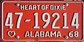 1968 Alabama passenger license plate.jpg