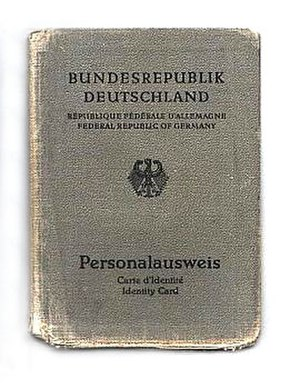 German identity card - West German identity card issued between 1 January 1951 and 31 March 1987, valid until 30 March 1997
