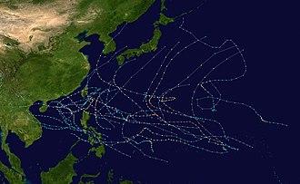 1986 Pacific typhoon season - Image: 1986 Pacific typhoon season summary