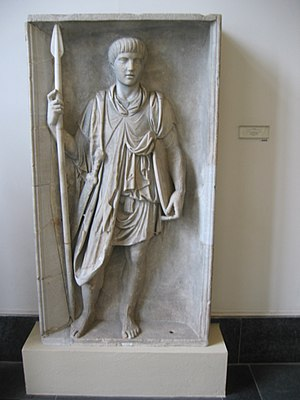 Structural history of the Roman military - Bas-relief carving of a Roman legionary out of battle dress, c. 1st century AD (Pergamon Museum, Berlin)