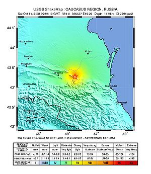 2008 Chechnya earthquake - ShakeMap for the event