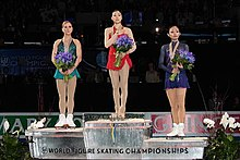 The podium at the 2009 World Figure Skating Championships
