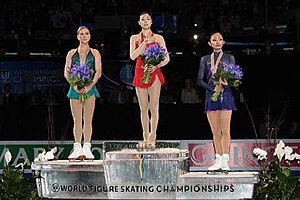 2009 World Figure Skating Championships - The ladies podium. From left: Joannie Rochette (2nd), Kim Yuna (1st), Miki Ando (3rd).