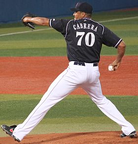 20130803 Daniel Alberto Cabrera, pitcher of the Chunichi Dragons, at Yokohama Stadium.JPG