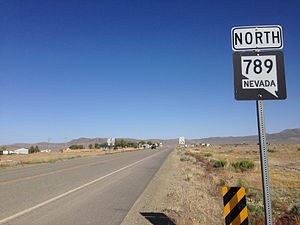 Nevada State Route 789 - View of northbound SR 789 near its southern terminus