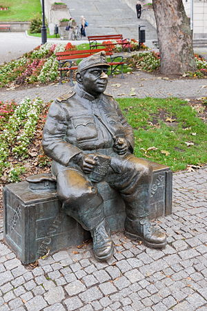 The Good Soldier Švejk - Statue of Josef Švejk in Przemyśl, Poland.