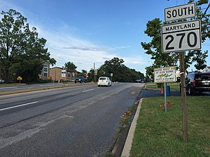 Maryland Route 270 - View south along MD 270 at MD 2 in Glen Burnie