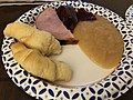 2018-12-25 16 43 32 A plate of Christmas dinner consisting of ham, croissant rolls, apple sauce and cranberry sauce along Terrace Boulevard in Ewing Township, Mercer County, New Jersey.jpg