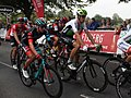 2018 Tour of Britain stage 3 113 Matt Holmes, 015 Jaco Venter, 033 Moreno Hofland and 025 Miles Scotson.JPG