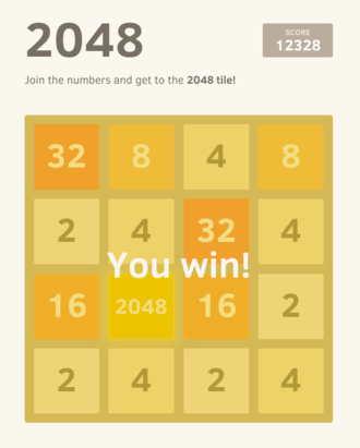 Threes - 2048 gameplay, showing a finished game