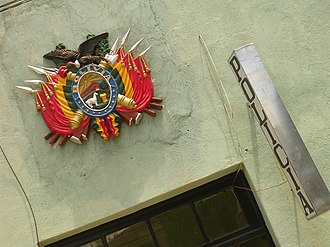 Coat of arms of Bolivia - Coat of arms of Bolivia in a police station in the city of Tupiza.