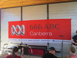 ABC Radio and Regional Content - ABC 2CN Canberra banner displayed for an outdoor broadcast at Floriade 2013