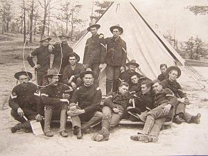 142nd Field Artillery Regiment - Members of the 2nd Arkansas Infantry in front of a tent