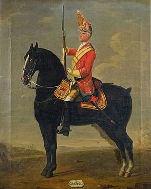 Massacre of St George's Fields - Trooper of the Horse Grenadier Guards, c. 1750.