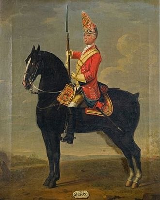 Horse Grenadier Guards - Trooper of the 2nd Horse Grenadier Guards, c. 1750.