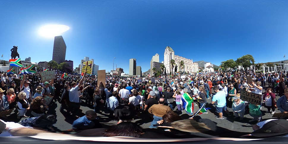 360 photograph of Zuma Must Fall protests in Cape Town