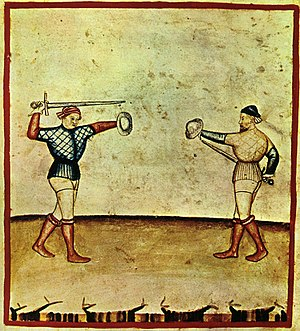 Buckler - Sword and buckler combat, plate from the Tacuinum Sanitatis illustrated in Lombardy, ca. 1390.