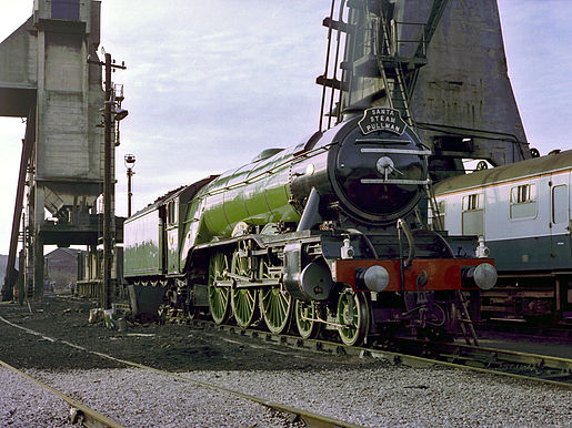 """Flying Scotsman"" at Carnforth in 1982 with original single chimney and without the later German-style smoke deflectors"