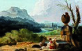 645pf0009-bl7fc-01 Washerwoman in a landscape, by Hubert Robert (1733-1808).jpg