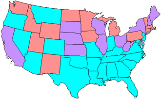 64th United States Congress - Map showing Senate party membership at the start of the 64th Congress. Red states are represented by two Republicans and blue by two Democrats. Purple states are represented by one senator from each party.