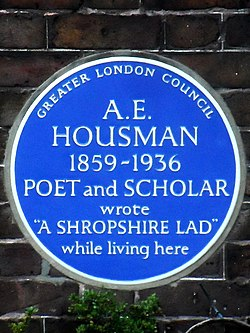 A.e. housman 1859 1936 poet and scholar wrote a shropshire lad while living here