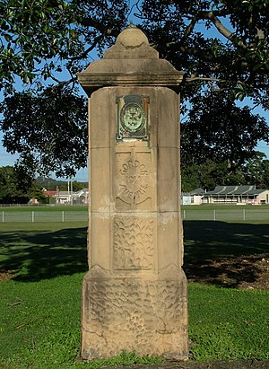 Australian Agricultural Company - Stone columns erected in Gordon Avenue, Hamilton. Dated 1914.