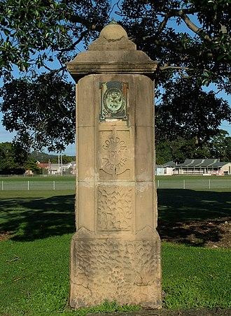 Australian Agricultural Company - Stone columns erected in Gordon Avenue, Hamilton. Dated 1914.