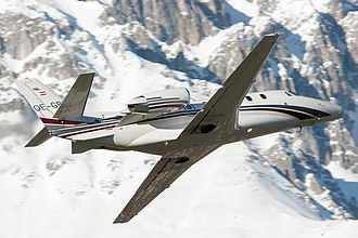 Cessna Citation Excel - Cessna Model 560XL Citation XLS taking off from Innsbruck Airport (February 2014)