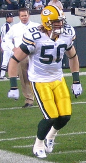 A. J. Hawk - Hawk in 2006 during player introductions.