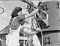 ALLIED WOMEN REPAIR NAVAL GEAR IN MEDITERRANEAN PORT. 6 AND 7 OCTOBER 1943, BEIRUT. SOME 150 GIRLS OF LEBANESE, ARMENIAN, GREEK, AND OTHER NATIONALITIES ARE WORKING FULL TIME FOR THE ROYAL NAVY. CLEANING AND PA A20009.jpg